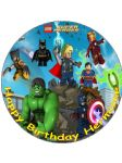 7.5 Lego Super Heroes Superheroes Personalised Edible Icing or Wafer Paper Cake Top Topper